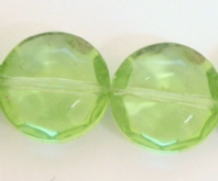 20 CRYSTAL GLASS 12MM FLAT FACET  BEADS GREEN